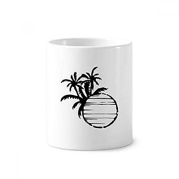 Taza blanca de 350 ml con soporte para bolígrafo de cerámica para cepillo de dientes, diseño de árbol de coco, color negro: Amazon.es: Oficina y papelería