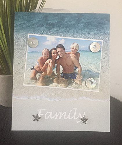 """Family Beach Vacation - Horizontal vacation reunion seaside memories hawaii carribean mexico tropical cruise gift handmade magnetic picture frame holds 5"""" x 7"""" photo 9"""" x 11"""" size by Frame A Memory"""