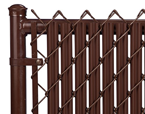 Ridged Slats Slat Depot Single Wall Bottom Locking Privacy Slat for 3', 4', 5', 6', 7' and 8' Chain Link Fence (6ft, Brown)