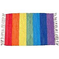 Handmade Rainbow Rug Carpet Handwoven Natural Fiber Cotton Mat 1.3x2.3 Feet Catchnew