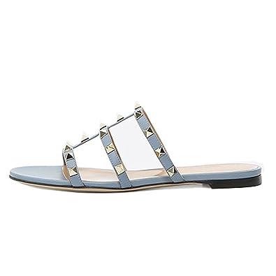 Caitlin Pan Damen Pantoletten Flats Nieten Rutschen Rockstud Strappy Studded Sandalen Backless Dress Hausschuhe...