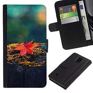 KLONGSHOP // Tirón de la caja Cartera de cuero con ranuras para tarjetas - Hoja de arce roja - Samsung Galaxy Note 4 IV //
