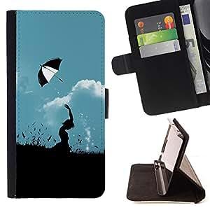 For Samsung Galaxy S6 EDGE (NOT S6),S-type Naturaleza Paraguas Campo- Dibujo PU billetera de cuero Funda Case Caso de la piel de la bolsa protectora