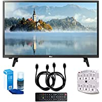 LG 28LJ430B-PU 28 Class HD 720p LED TV (2017 Model) with Two (2) 6 Foot HDMI Cables, Professional Screen Cleaning Kit, and 750 Joule 6-Outlet Surge Adapter Bundle