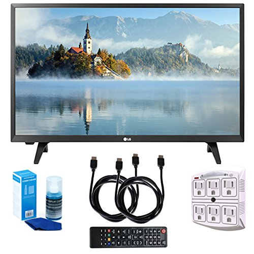 LG 28LJ430B-PU 28″ Class HD 720p LED TV (2017 Model) with Two (2) 6 Foot HDMI Cables, Professional Screen Cleaning Kit, and 750 Joule 6-Outlet Surge Adapter Bundle