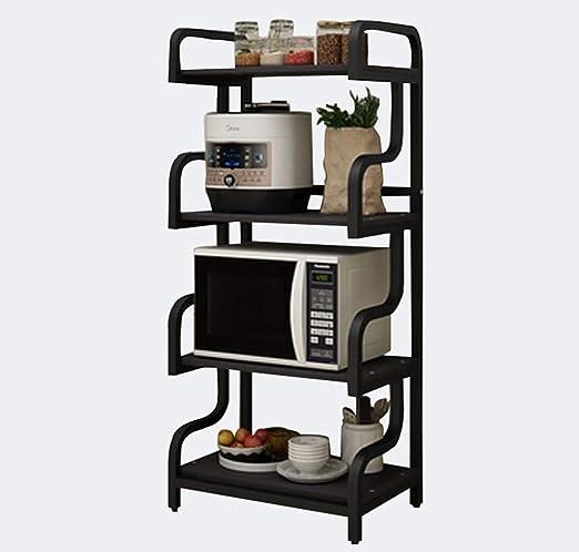 4 capas de rack de almacenamiento de madera, cocina de microondas ...