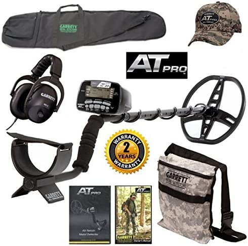 Garrett AT Pro Metal Detector, All Purpose Detector Carry Bag, Camo Digger s Pouch, At Pro Cap, and MS-2 Headphones