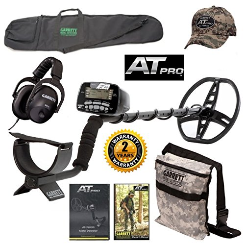 Garrett AT Pro Metal Detector, All Purpose Detector Carry Bag, Camo Digger's Pouch, At Pro Cap, and MS-2 Headphones For Sale