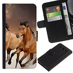 KingStore / Leather Etui en cuir / Samsung Galaxy S3 III I9300 / Caballos de pieles animales Naturaleza Mustang Riding Marrón