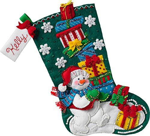 Present Stocking - Bucilla 86864 Snowman with Presents Stocking Kit