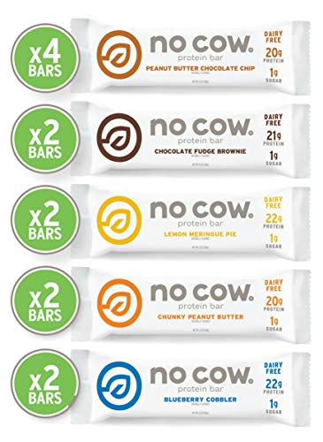 No Cow Best Seller Variety Pack, 20g Plant Based Protein, Keto Friendly, Low Sugar, Dairy Free Gluten Free, Vegan, High Fiber, Non-GMO, 12Count