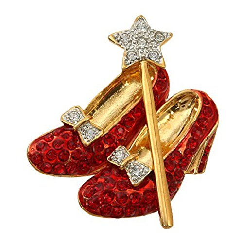 pricegems Gold Finish Dorothy Wizard of Oz Red Crystal Shoes, Clear Crystal Bow and Wand Star Lapel Pin Brooch Large 1.5