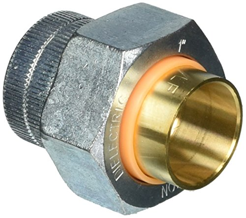 Mueller 168-005NL Dielectric Pipe Union, 1 In, Fpt X C, 2-1/4 In L, 250 Psi, Galvanized, 180 Deg F, 1-Inch, Brass