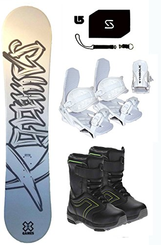 138 X-Games Chopper Snowboard & White Bindings & Boots & Leash & Stomp & Burton Decal Package