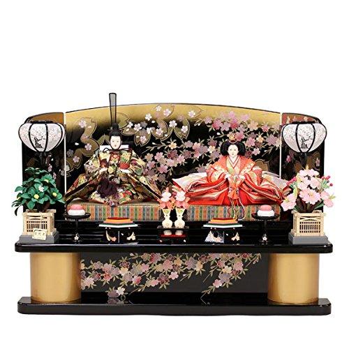 雛人形 豪華金襴織 ひな人形 お雛様 初節句飾り お祝い 親王飾り 2人 平飾り 組立式   B0781F5JNG