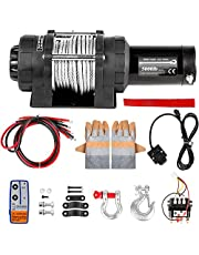 VEVOR Electric Winch Compatible with Jeep Truck SUV Cable Steel 12V Power Winch with Wireless Remote Control, Powerful Motor for ATV UTV Off Road Trailer