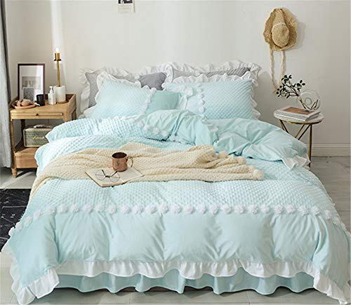 EVDAY Korean Princess Style Flannel Turquoise Bedding Set Decorative White Lace Flower Ruffle Bedding for Girls Including 1Duvet Cover,1Bedskirt,2Pillowcases King Queen Full Twin Size