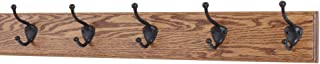 """product image for PegandRail Oak Coat Rack with Oil Rubbed Bronze Hat & Coat Style Hooks (Chestnut, 25.5"""" x 3.5"""" with 5 Hooks)"""
