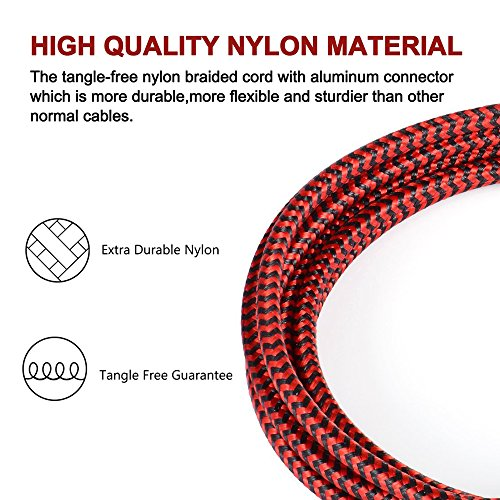 Lightning Cable,AOFU Charger Cables 5Pack 3FT 3FT 6FT 6FT 10FT to USB Syncing Data Nylon Braided Cord Charger iPhone X/8/8Plus/7/7Plus/6/6Plus/6s/6sPlus/5/5s/5c/SE More (Black&Red) by AOFU (Image #3)