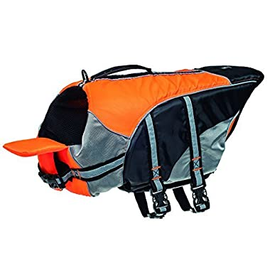 He&Ha Pet Quality Dog Life Jacket Adjustable Dog Life Vest Preserver High Buoyancy and 100% Pet Safe (Orange, Large)