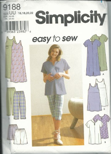 Simplicity 9188UU Sewing Pattern Misses Easy Summer Outfits Size 16-22 ()