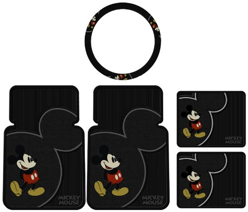 5pcs Mickey Mouse Vintage Front Rear Rubber Floor Mats Steering Wheel Cover Set (Rubber Rear Wheels)
