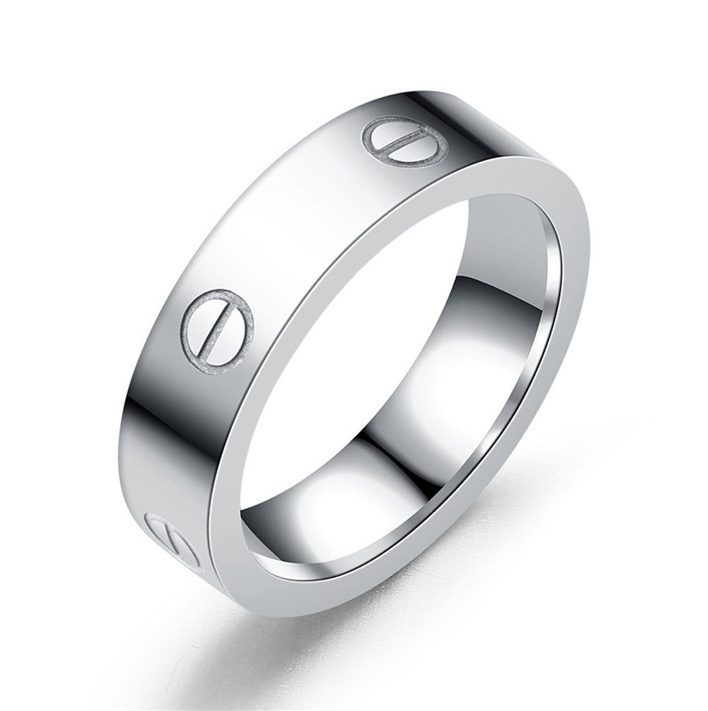 Dubeauty Love Ring Lifetime Titanium Stainless Steel Couples Wedding Engagement Anniversary Engraved Bands Silver Size 6