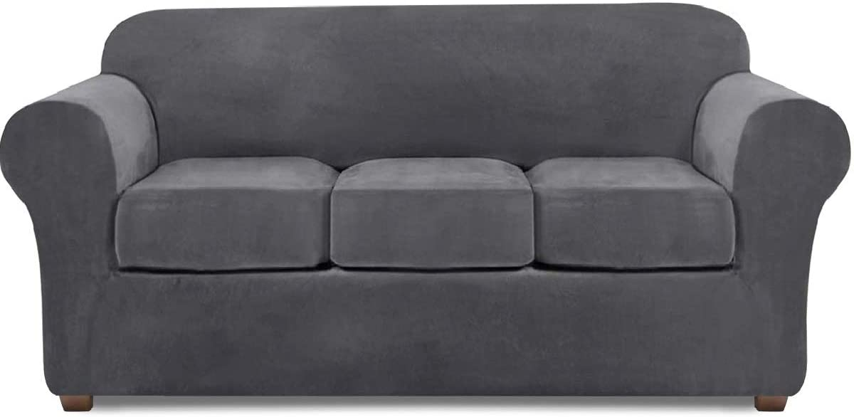 Velvet Couch Covers for 3 Cushion Couch Stretch Sofa Cover 4 Piece Couch Slipcover (Gray)