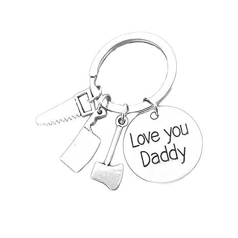 bestomz día del padre llavero - Love you DADDY Padre llavero ...