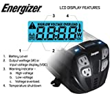 ENERGIZER Power Inverter converts 12V DC from car's battery to 120 Volt AC with 2 USB ports 2.1A shared compatible with iPad iPhone