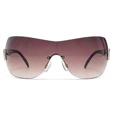 99b4886e63b Karen Millen Rimless Visor Sunglasses in Brown KML207  Amazon.co.uk ...