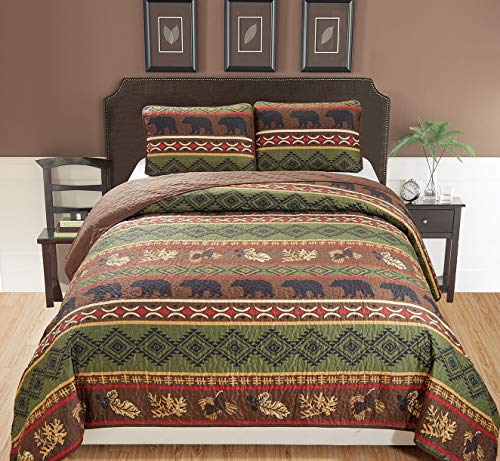 Rustic Western Southwestern Brown Quilt Set With Native American Designs Grizzly Bears and Pinecone Prints King / California King Bedspread 3 Piece Bear King / - Set King Bedroom Cal Panel