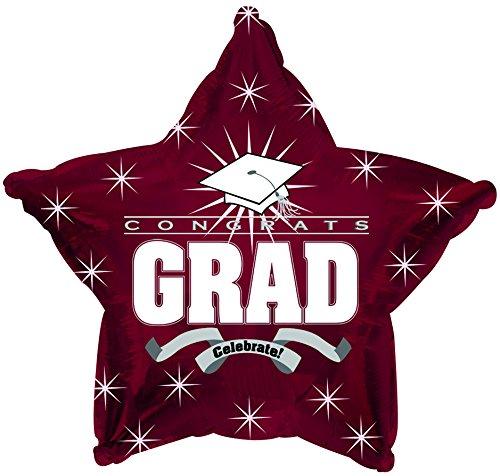 Star Shape Graduation Balloons School Colors - 5 Count (MAROON)
