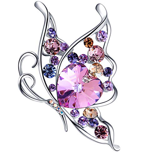 (RAINBOW BOX Butterfly Brooches for Women, Heart Crystal from Swarovski Jewelry,Rhinestone Brooch Pins for Girlfriend Mom for Her (Purple))