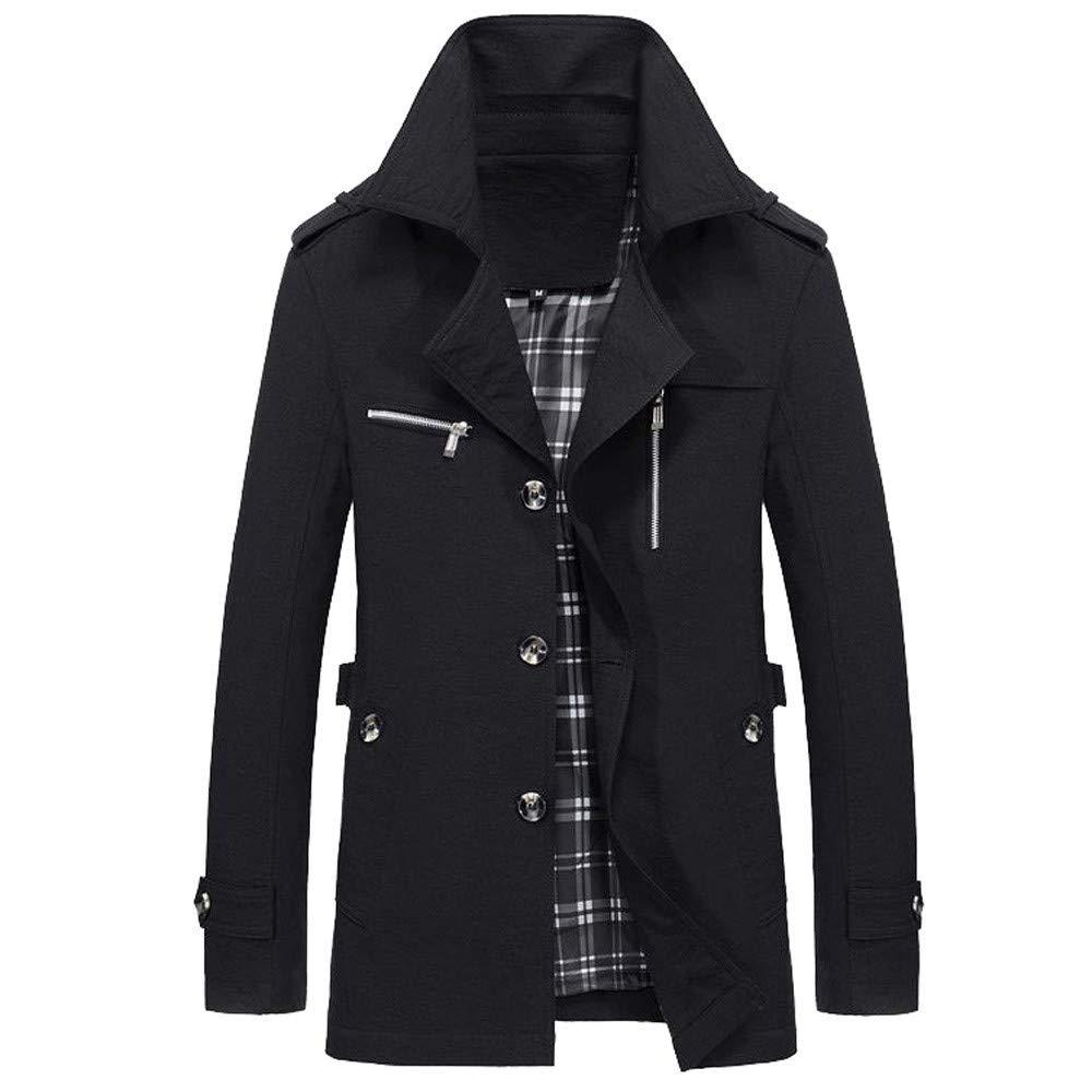ClearanceMen's Button Zip Winter Warm Jacket Overcoat Outwear Slim Long Trench Buttons Coat Outwear
