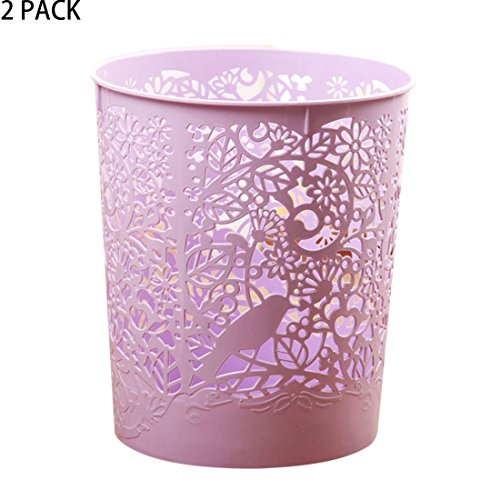 Out Waste Bin (Waste Bins, XSHION 2 Pack Creative Hollowed-out Trash Can Waste Paper Baskets Office Garbage Bins (Light Purple))