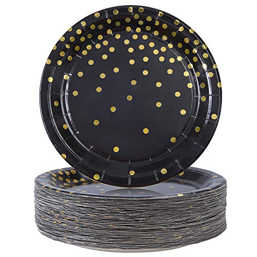 Elcoho 60 Pieces Black Disposable Paper Plates Bronzing Plates Gold Dot Plates Party Supplies, for Graduation, Birthday, Wedding, Annivesary, 7 Inches