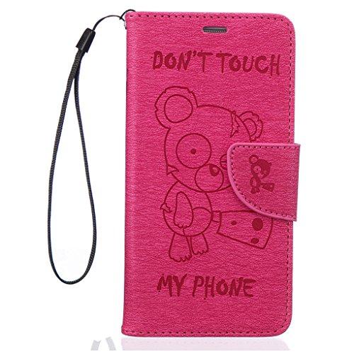 Trumpshop Smartphone Carcasa Funda Protección para Samsung Galaxy S6 + Dont Touch My Phone (Bebe oso) Marrón + PU Cuero Caja Protector Billetera con Cierre magnético Choque Absorción Rojo