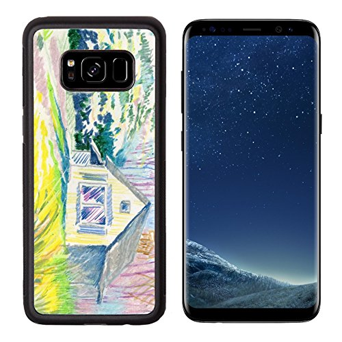 Liili Premium Samsung Galaxy S8 Aluminum Backplate Bumper Snap Case IMAGE ID: 38167922 Watercolor Rural hut in the forest (Village In Hut)