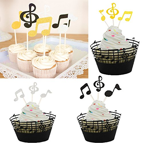 LQQDD Music Notes Cupcake Topper Music Notes Cupcake Wrappers Lace Muffin Case Cupcake Paper Cup Liner,Music Notes Decorations Party Supplies Birthday Cake Decorating Tools Baby Showers Party by LQQDD (Image #5)