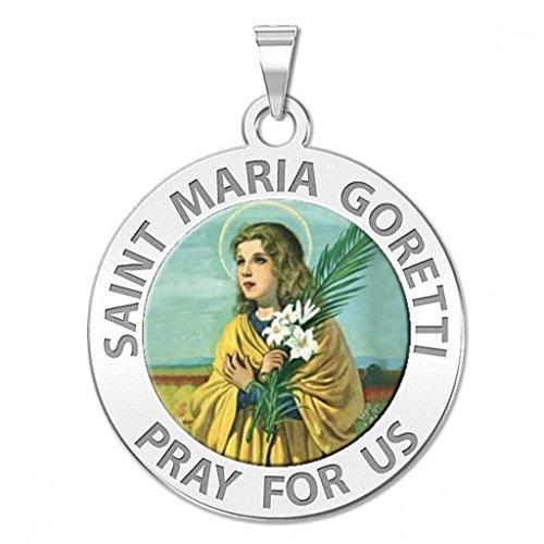 Saint Maria Goretti Religious Color Medal - 3/4 Inch Size of a Nickel in Sterling Silver (Goretti Saint Maria Medal)