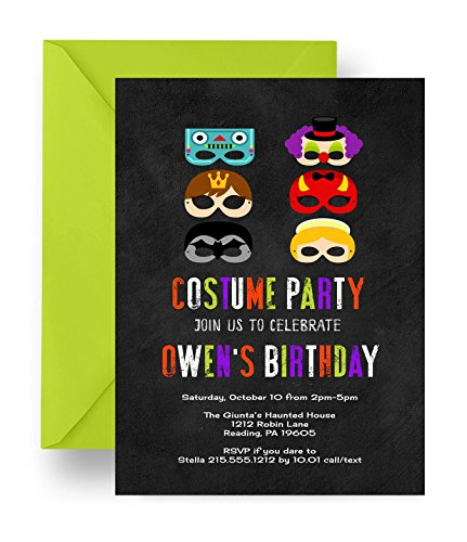 Halloween Costume Party Invitations Kids Chalkboard Mask Invites Printed Set (Preppy Halloween Costumes)