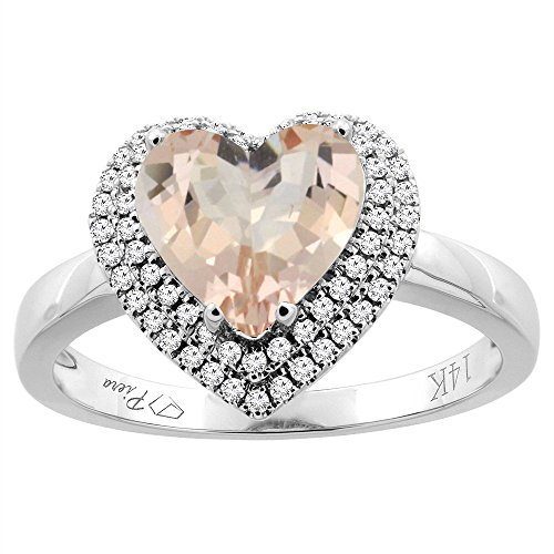 14K White Gold Natural Morganite Ring Heart Shape 8 mm Diamond Accents, size 6.5