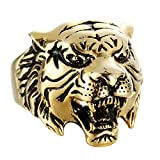 Aooaz Jewelry Titanium Steel Ring for Men Animal Tiger Head Thumb Ring Punk Ring