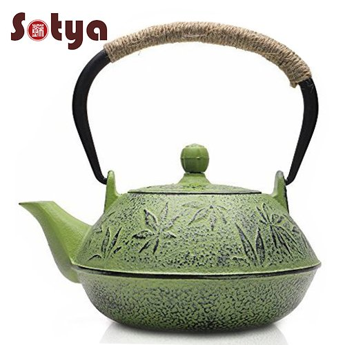 Sotya Cast Iron Teapot Japanese Tetsubin Tea Kettle Durable Cast Iron with a Fully Enameled Interior (Cast Tetsubin Iron Teapot)