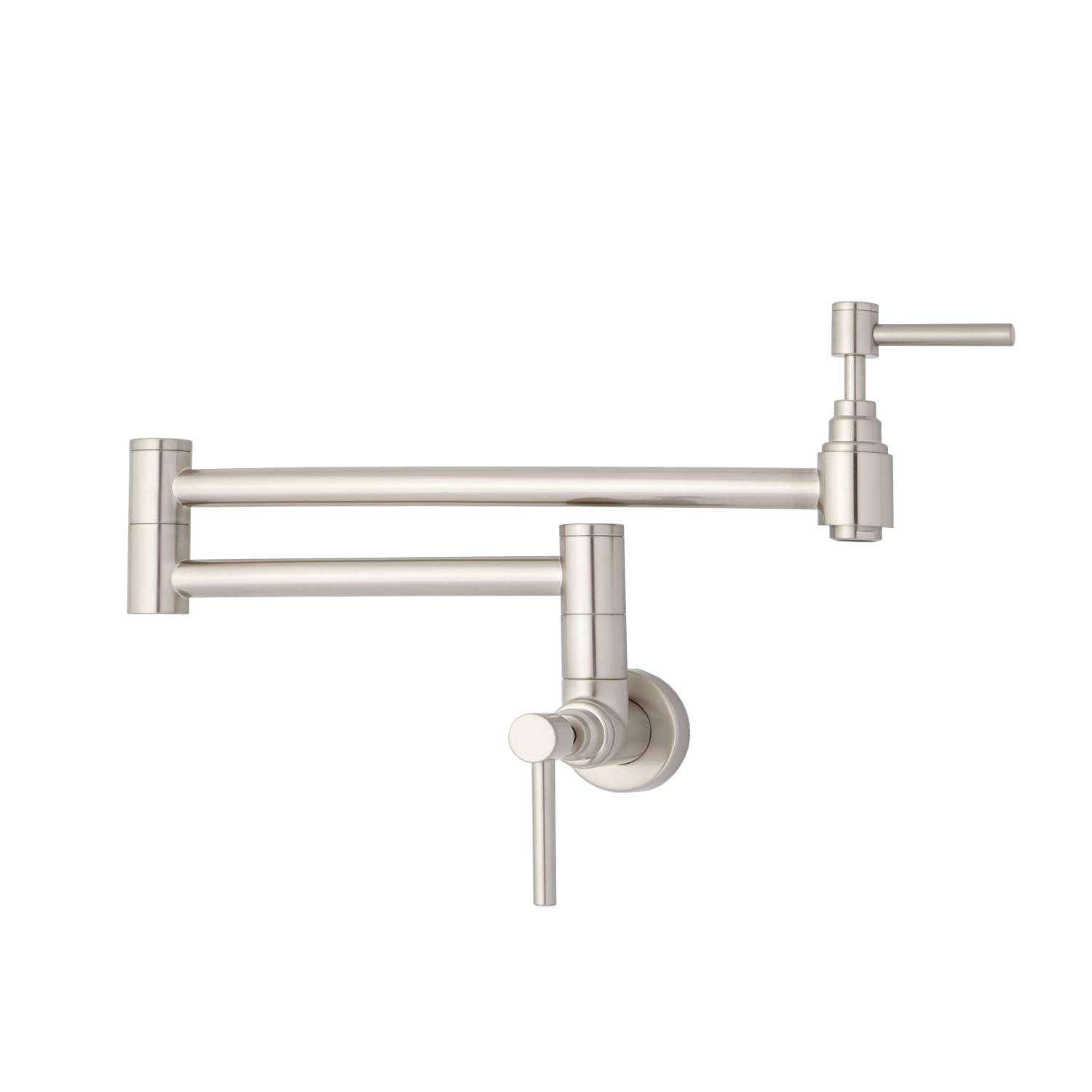 Naiture Retractable Wall-Mount Pot Filler in Brushed Nickel Finish