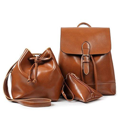 WenL Ladies Backpack Three Sets Of Shoulders Bag,WineRed LightBrown