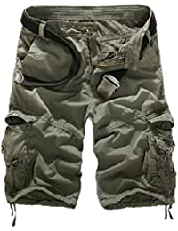 Women's Casual Loose Fit Multi-Pockets Camouflage Twill Bermuda Cargo Shorts With Belt