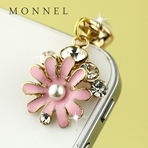 Ip558b Cute Crystal Pink Flower Cell Phone Charm Dust Proof Plug - Phone Flower Cell Charm