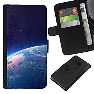 LECELL--Cuero de la tarjeta la carpeta del tirón Smartphone Slots Protección Holder For HTC One M9 -- Tierra desde el espacio --